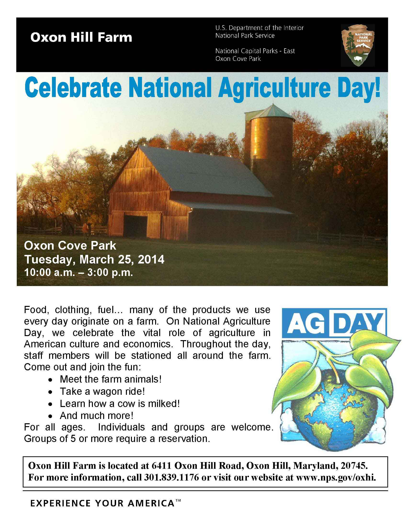 Celebrate National Agriculture Day Tuesday March 25th