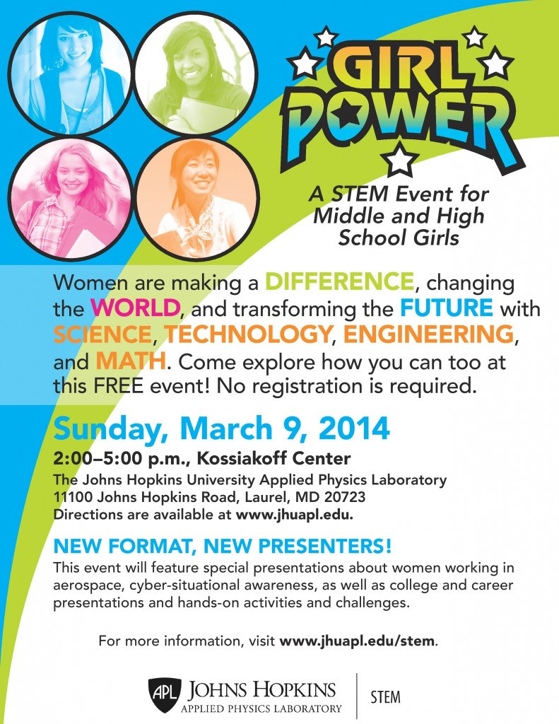GIRL POWER - A FREE STEM Event for Middle and High School Girls @ Kossiakoff Center - The Johns Hopkins University Applied Physics Laboratory | Laurel | Maryland | United States